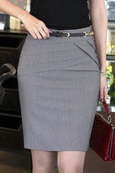 835a0c2cb Office Lady High Rise Plain Slit Back Wrap Pencil Mini Skirt -  Beautifulhalo.com