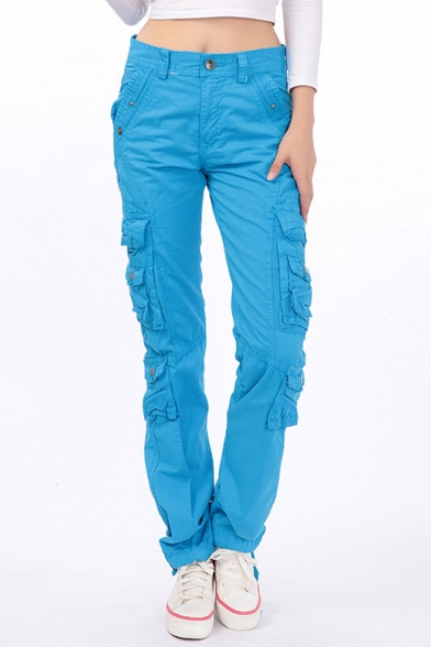 Fashion women's Plain Button Fly Closure Outdoor Straight Pants with Pockets
