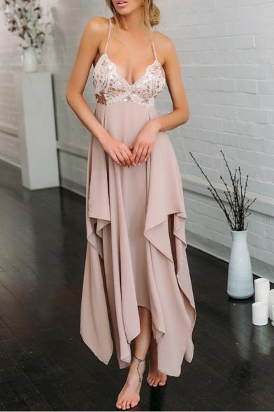 Women's Crisscross Back Plunge Neck Sequined Print Asymmetrical Hem Maxi Party Dress