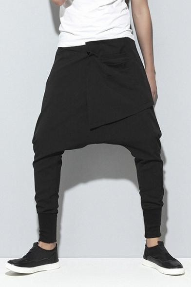 Women Winter Thick Elastic Waist Solid Harem Pants
