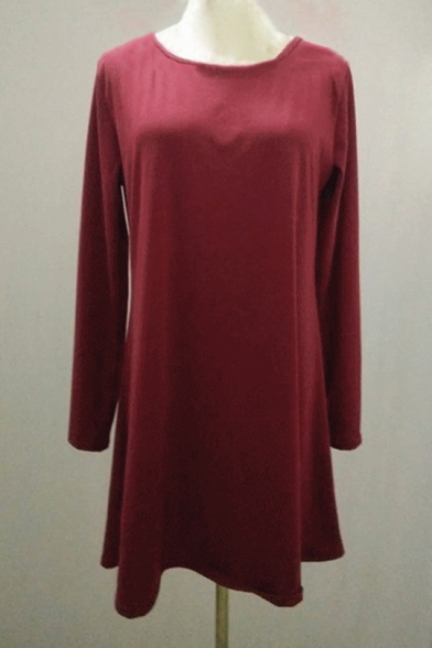 Shirt Dress Fashion Sleeve T Round Neck Plain Mini Long x7FpqA0T