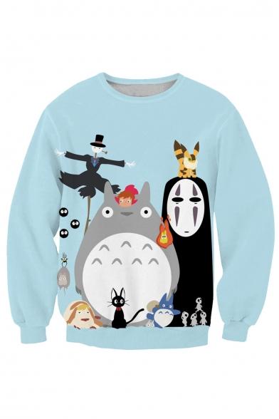 Lovely 3D Cartoon Printed Round Neck Pullover Sweatshirt