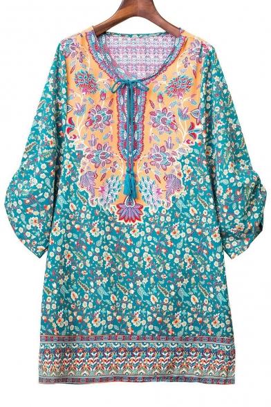 Dress Summer Bohemian Women Vintage Tie Neck Ethnic Shift Style Printed Rzfq6WU