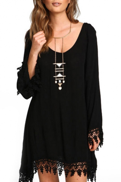 Women's Long Sleeve Lace Embellished Beach Cover Up Loose Dress