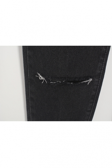 Fashion Ripped Broken High Waist Plain Jeans