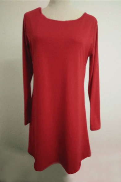 Shirt Dress Fashion Sleeve T Round Neck Plain Mini Long x7FpqA0T