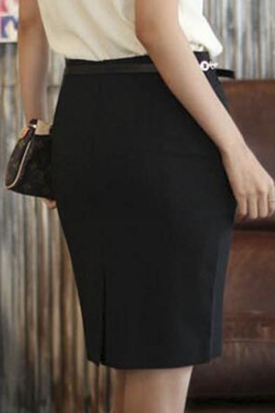 cbdb91b5f ... Office Lady High Rise Plain Slit Back Wrap Pencil Mini Skirt ...
