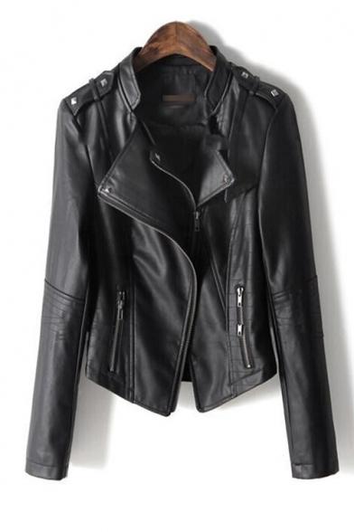Women's Cool Notched Lapel Long Sleeve Plain Zipper Placket Biker PU Jacket