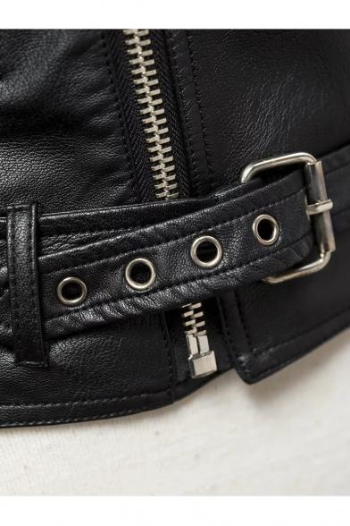 Women's Fashion Boat Neck Zip Fly Long Sleeve PU Coat with Belt