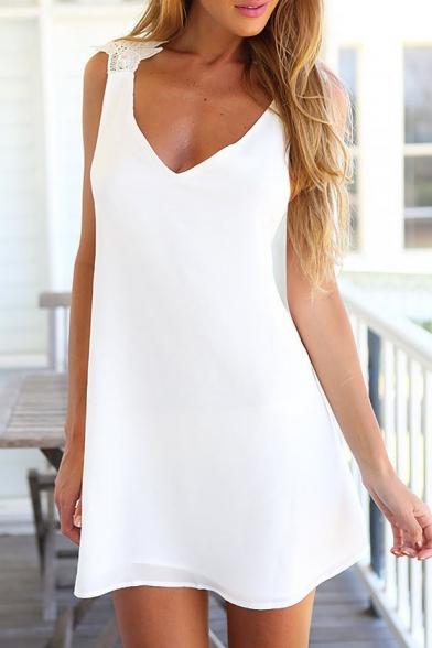 Women's Fashion Crisscross Back V-Neck Sleeveless Swing Cami Mini Dress