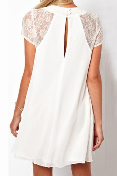 Women's Oversize Round Neck Lace Short Sleeve Chiffon Swing Mini Dress