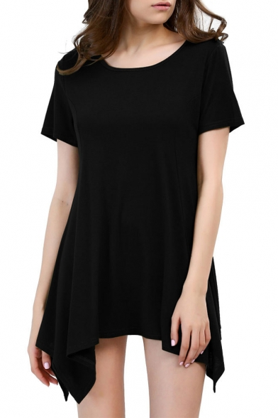 Women's Short Sleeve Loose Fit Tunic Top With Arch Hem Dress