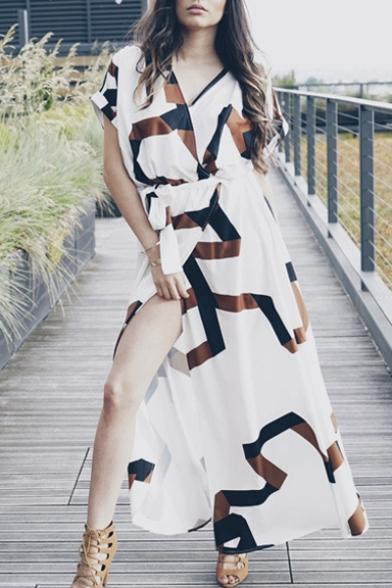 Fashion V-Neck Wrap Front Belt Waist Split Color Block Maxi Dress