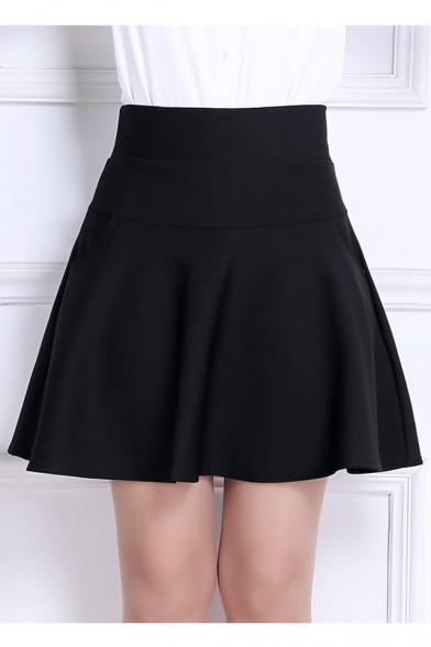 High Waist Women's Chic Plain A-Line Skirt with Two Side Pockets ...