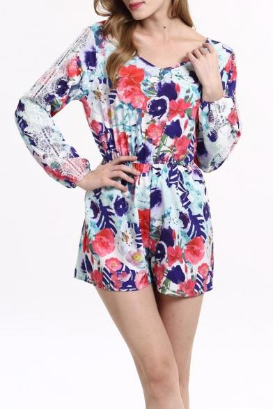41fc34e932a Women s Floral Print Long Sleeves Romper Playsuit Jumpsuit -  Beautifulhalo.com