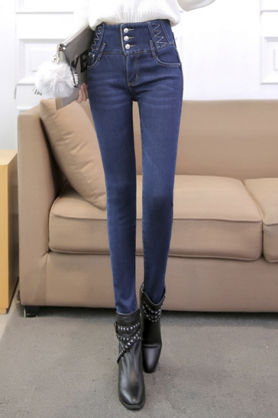 Women's High Waist Jeans Elastic Basic Winter's Warm Pants