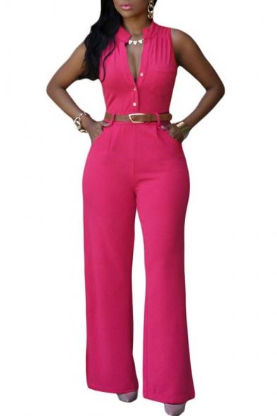 Women's Jumpsuits Elegant Button Loose Long Wide Leg Jumpsuits Romper
