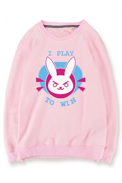 Cute Cartoon Rabbit Letter Printed Round Neck Pullover Sweatshirt
