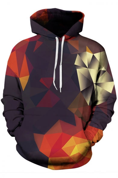 Hot Fashion Digital Printed Geometric Color Block Long Sleeve Baseball Hoodie for Couple