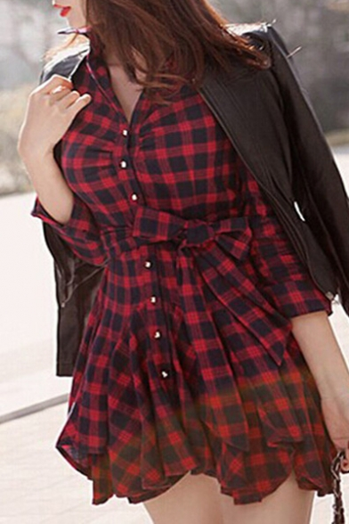 Fashion Lapel Single Breasted Plaid Color Block Long Sleeve Swing Hem Shirt Dress