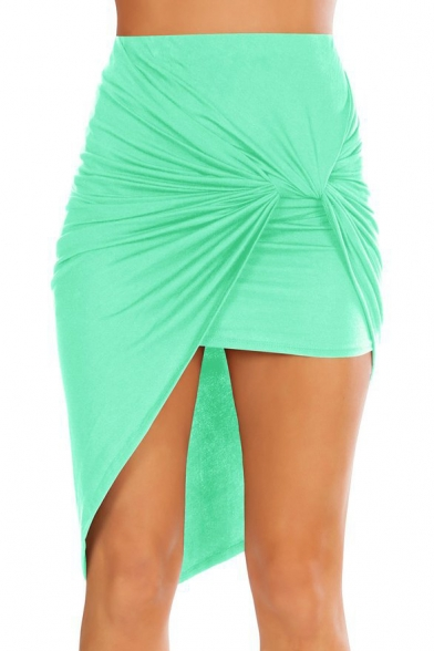 Fashion Plain Ruched Front Asymmetric Hem Bodycon Skirt