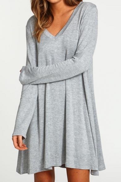 Popular V-Neck Long Sleeve Plain Mini T-Shirt Dress