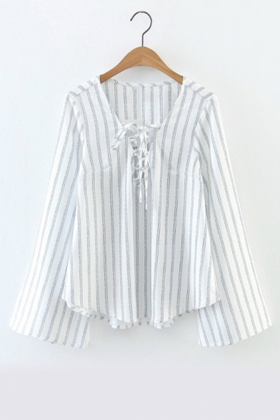Vertical Striped Bell Long Sleeve Tied Front V-Neck Blouse Top