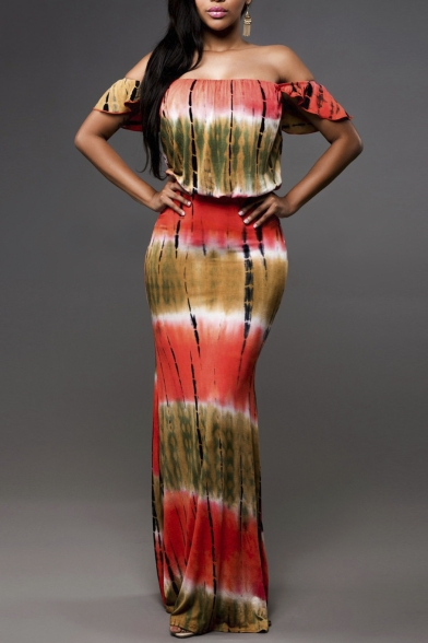 Women's Elegant Boho Printed Off Shoulder Bodycon Party Maxi Dress