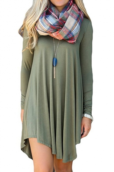 Women's Long Sleeve Casual Loose T-Shirt Dress Mini Tunics For Leggings