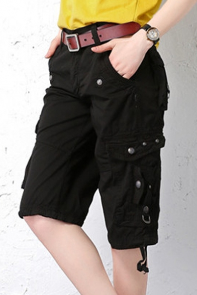 Women's Casual Multi-Pockets Sports-Wear Knee Length Cargo Short Pants