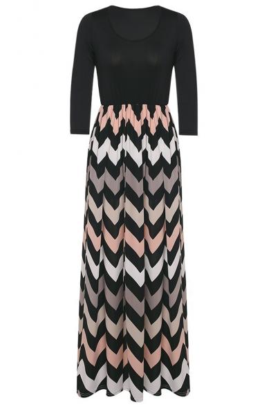 e81495569 Women's Fashion 3/4 Sleeve Casual Contrast Color Striped Chevron Maxi Dress  ...