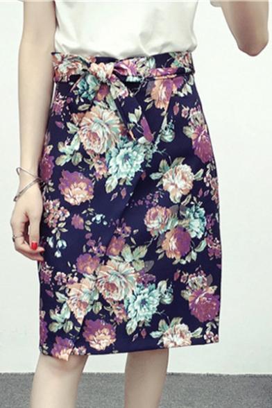 Women's Floral Print High Rise Bow Waist Wrap Midi Skirt