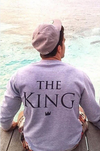 Couple THE KING/ HIS QUEEN Letter Printed in Back Pullover Sweatshirt
