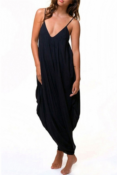 Sexy V-Neck Spaghetti Straps Sleeveless Plain Loose Jumpsuits