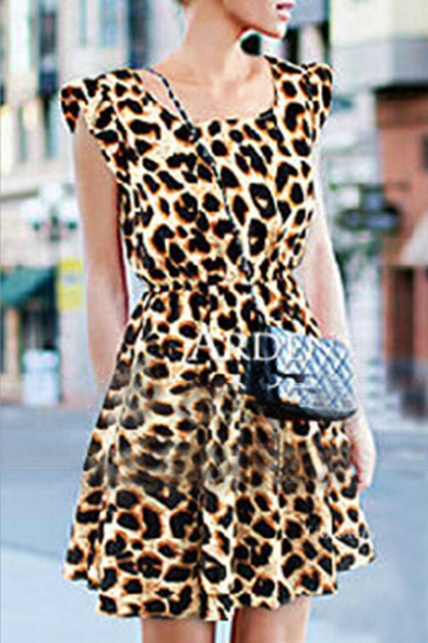 ca56106f46 Women s Scoop Neck Sleeveless Sexy Leopard Print Tank Mini Dress -  Beautifulhalo.com