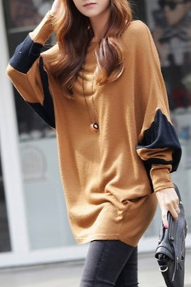 Tunic Scoop Loose Batwing Top Women Neck Block Color gqdCYwT