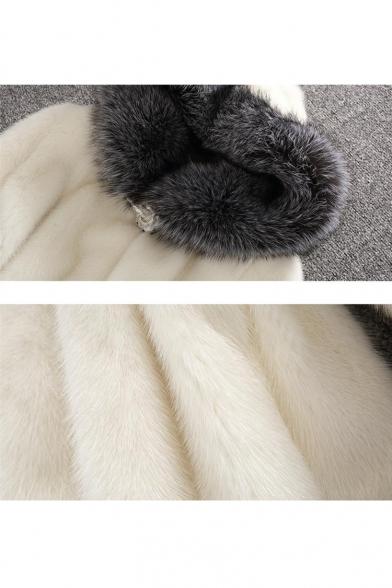 New Stylish Hooded Contrast Trim Faux Fur Tunic Coat