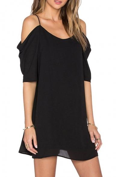 Women's Fashion Cold Shoulder Short Sleeve Scoop Neck Chiffon Mini Dress