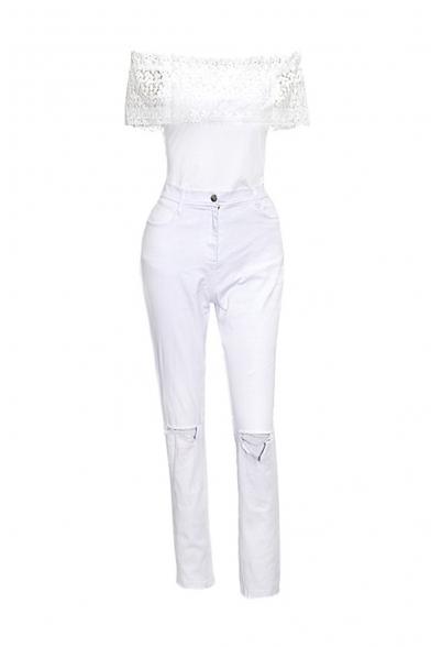 9a4517fcdb3 ... Women s Off Shoulder Lace Top High Waist Jumpsuit Flare Bell Bottom ...