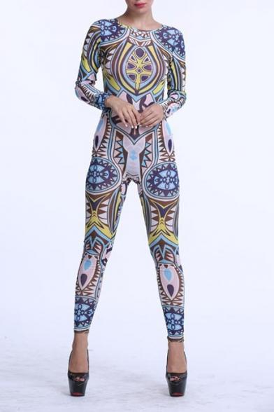 20a8171d592 Women Jumpsuits Tribal Tattoo Printed Dumpsuit Sexy Bodysuit Playsuit -  Beautifulhalo.com