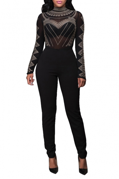 Women S Long Sleeve Sheer Rhinestone Bodycon Clubwear