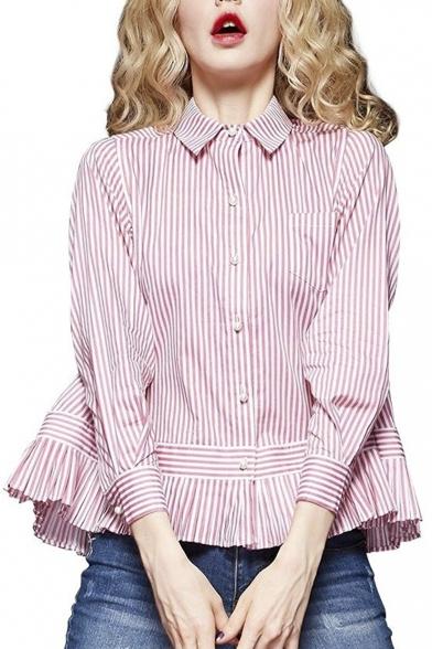 Womens Summer Spliced Stripes Loose Polo Shirt