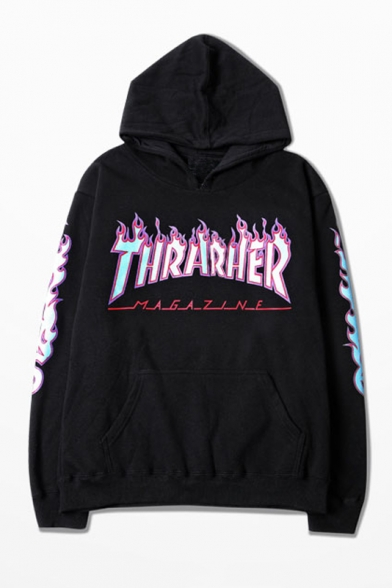 Fashion Hooded Contrast Thrarher Letter Printed Couple