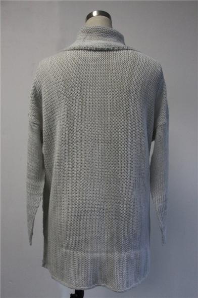 Fashion Women's Oversized Plain High Neck Long Sleeve Tunic Sweater
