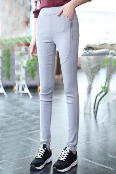 Women's Basic Oversize Casual Zip Side Plain Skinny Pants
