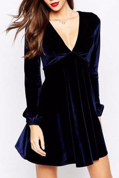 Women S Elegant Plunge V Neck Long Sleeve Plain Velvet