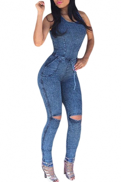 1189f3d3fc59 Women s Sleeveless Bodysuit Boyfriend Denim Romper Hole Jean Tank Jumpsuit  ...