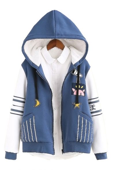 Drawstring Hooded Zipper Placket Striped Contrast Long Sleeve Cartoon Printed Coat