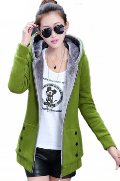 New Stylish Hooded Long Sleeve Zipper Placket Plain Zip Up Sweatshirt Coat