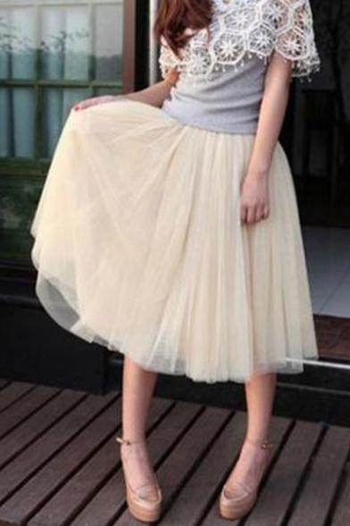 Plain Fashion Multi-Layered Mesh Midi Swing Bubble Skirt